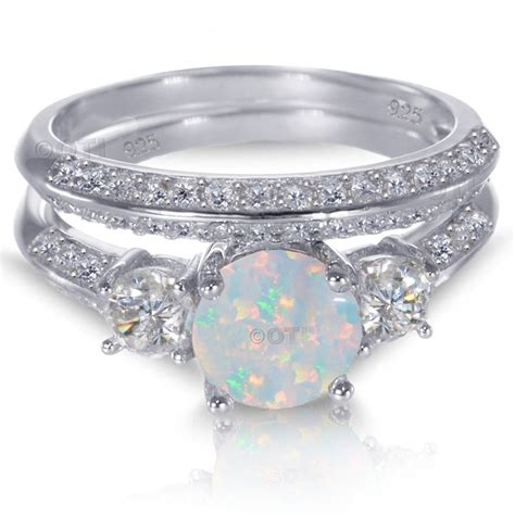white gold sterling silver round cut white fire opal wedding engagement ring set ebay