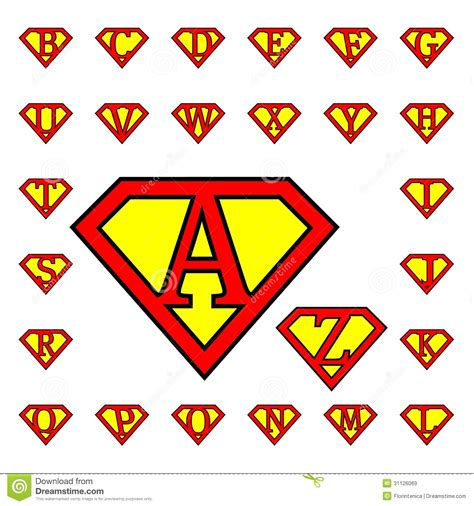 superman alphabet template letters royalty free stock images image 31126069