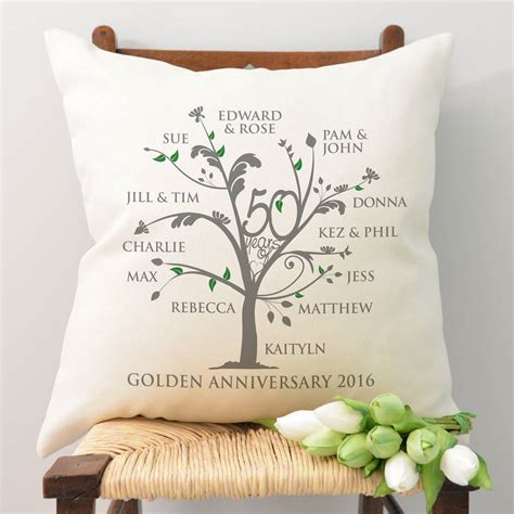 Wedding Anniversary Golden by Personalised Golden Anniversary Family Tree Cushion By A