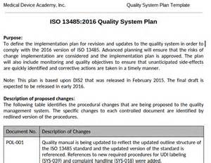 quality program template quality system plan template