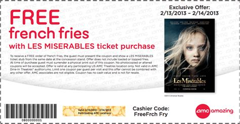 printable amc discount tickets amc theaters free fries printable coupon