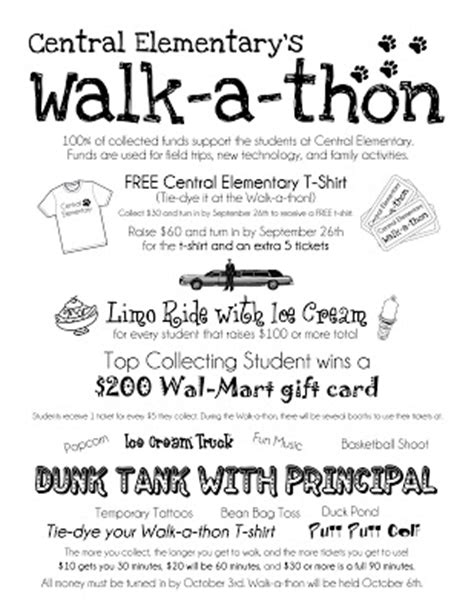 Central Wildcat Pride Walk A Thon Sponsor Collecting Starts Today Walk A Thon Flyer Template