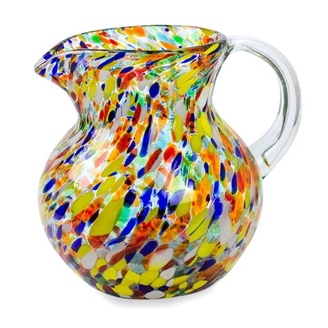 mexican hand blown glass pitcher 71 oz confetti multicolor art