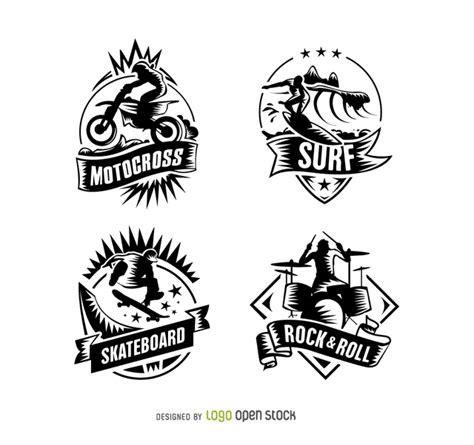 surf motocross amp skateboard vintage logos free vector