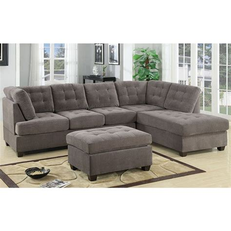 large 3 sectional sofa shop 3 modern large tufted grey microfiber sectional