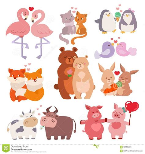 happy valentines day in characters animals couples in collection happy valentines