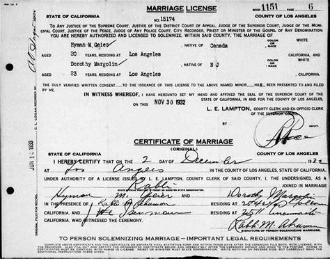 los angeles county wedding permit 2 dorothy margolin geier