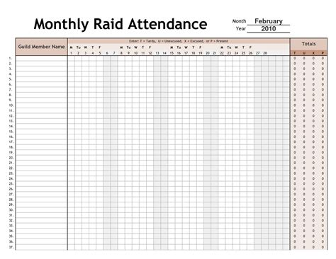 weekly attendance sheet template monthly raid attendance sheet template sle helloalive