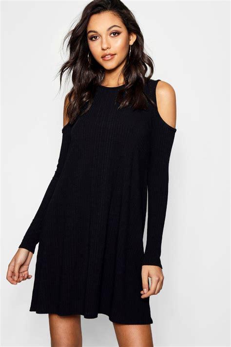 cold shoulder swing dress boohoo lily cold shoulder soft knit rib swing dress ebay