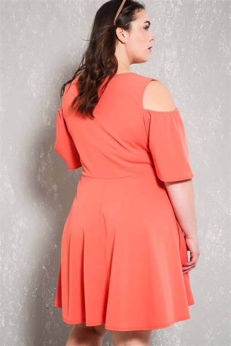 Fashion Dress Lp 2 A Gd2587 coral cut out sleeve plus size a line dress