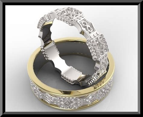 unique his and hers two tone gold wedding ring set vidar
