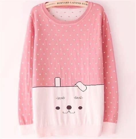 Kawai Sweater Pink sweater pink kawaii japan t shirt shirt dress vip style