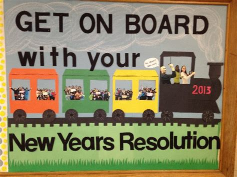 new year decorations for school get on board new years resolution bulletin board pe