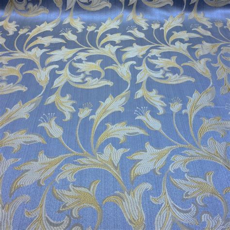 Blus Jaquard Blus Natal Mewah jacquard damask print fabric baby blue for curtains and decorations fabric wholesale direct