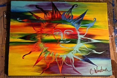 acrylic paint sun colorful sun and moon acrylic painting on wood by paint