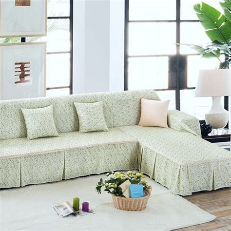 L Shaped Sofa Slipcover Unikea Past Green Fl Sectional Slipcover For L Shaped Sofa