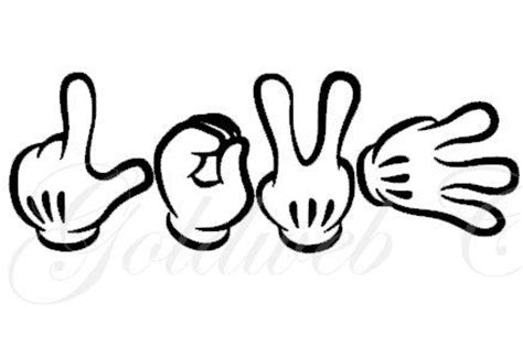 sign language i love you coloring pages love mickey mouse inspired sign language car vinyl decal