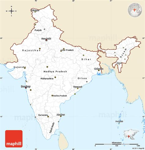 simple map classic style simple map of india single color outside