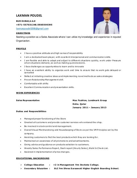 Resume Sles For Dubai Sales Cv Of Laxman