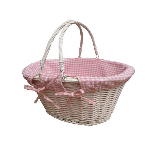 white with baskets buy white oval wicker shopping basket with pink check lining