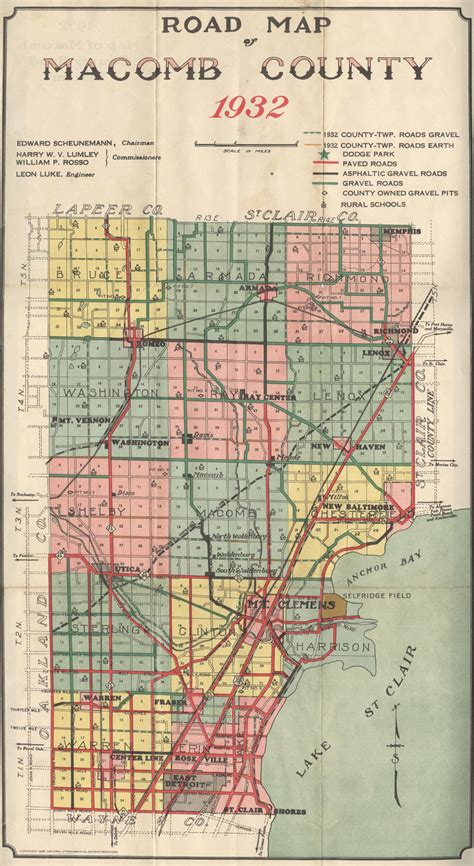 macomb county mi road map 1932 michigan pinterest