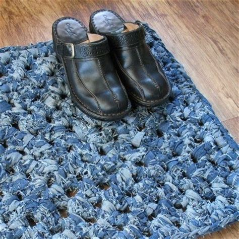 crochet denim rug crochet denim rug how to crocheted knit rag rugs front doors in the attic