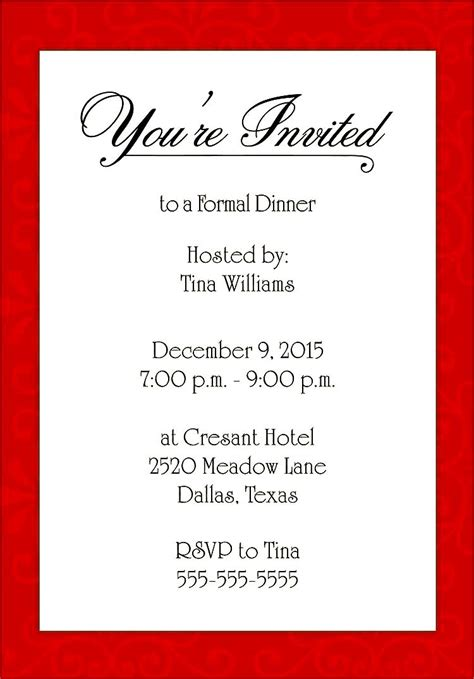 dinner invitation formal dinner invitation templates besttemplates123