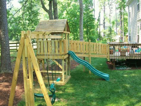 swing set with bridge backyard playground hand crafted wooden playsets swing