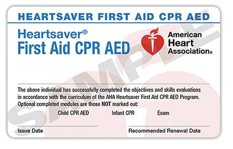 Heartsaver Cpr Aed Card Template by American Responder Cpr And Bls Classes In Los