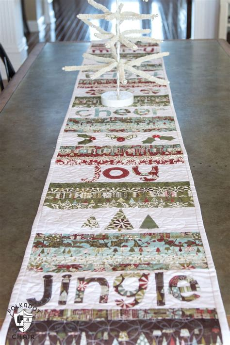 merry cheer quilted christmas table runner pattern  polka dot chair