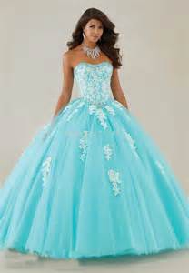 long sweet 16 ball gown aqua puffy quinceanera dresses
