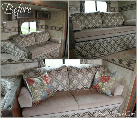 travel trailer couch vintage dutch girl travel trailer makeover part 7