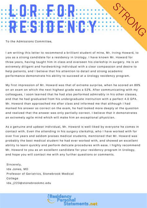 Recommendation Letter For Residency Sle Letter Of Recommendation For Residency
