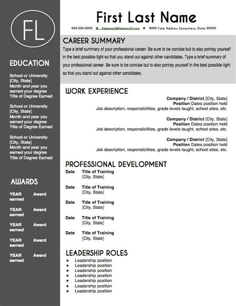 Resume D Gray by Resume Template Sleek Gray And White