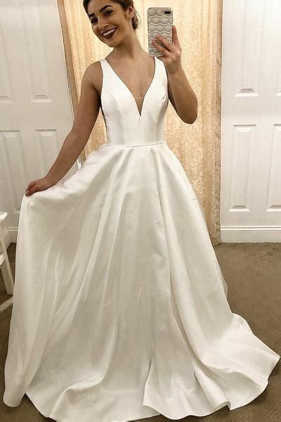 simple satin traditional wedding dresses   neckline