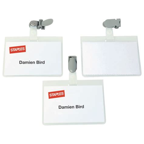 printable name tags staples staples rotating clip security name badge pvc landscape