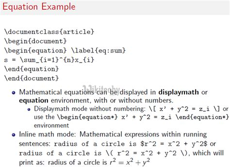 latex tutorial for mathematics latex math equation exle tessshebaylo