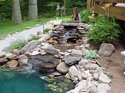 backyard waterfalls and ponds backyard pond and waterfall on pinterest ponds koi