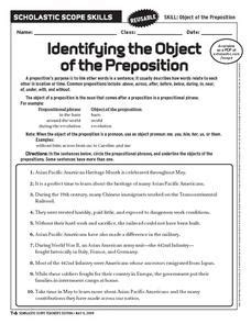 identifying the object of the preposition 6th 10th grade