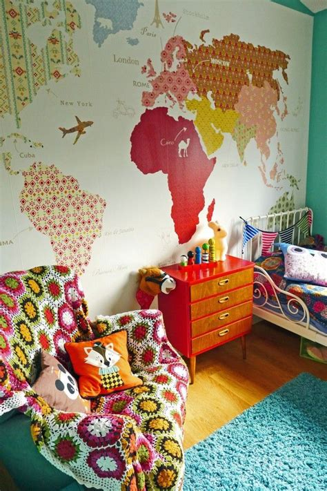 world map room use vintage wallpaper to create world map mural nursery