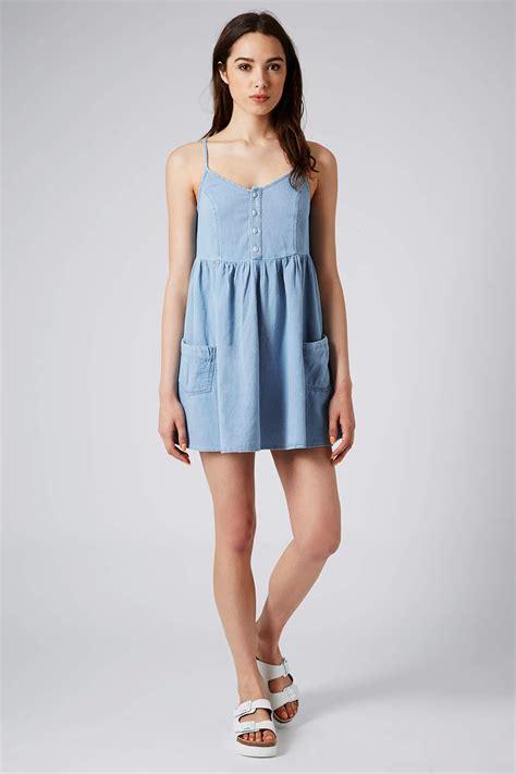 Dress Baby Doll Denim topshop moto denim babydoll dress in blue lyst