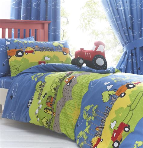 tractor bedding set boys hilltop farm yard tractor bedding duvet quilt or sheet or curtains ebay