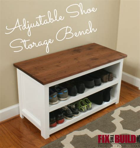 diy shoe shelf plans diy adjustable shoe storage bench fixthisbuildthat