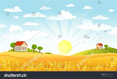 in the morning countryside panorama morning stock vector 252117742