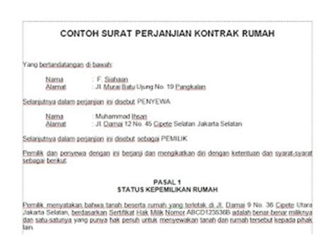 contoh surat perjanjian sewa beli a tenancy agreement