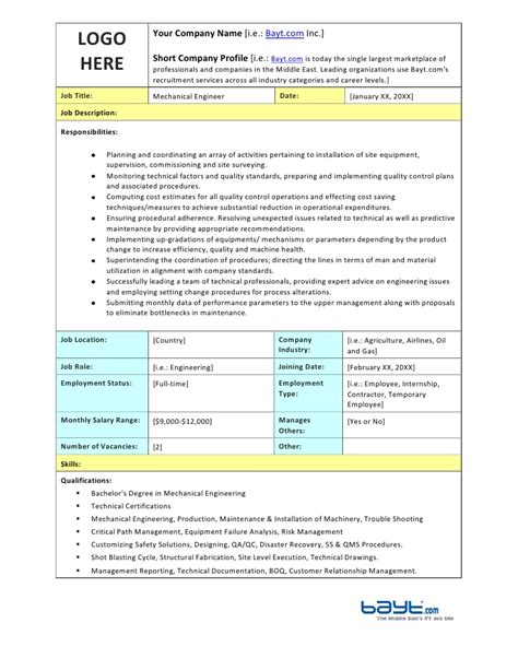 mechanical engineer job description template by bayt com