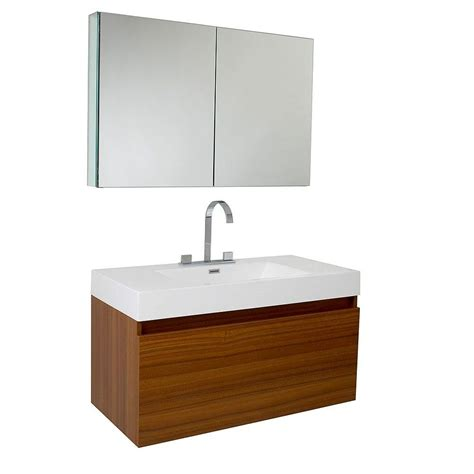 Mounted Vanity by Fresca Mezzo Teak Wall Mounted Bathroom Vanity W Medicine