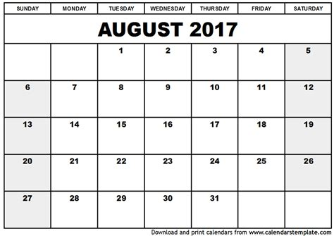 august 2017 calendar pdf printable template with holidays