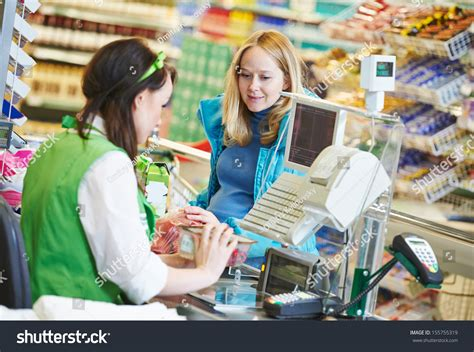 buy food customer buying food supermarket check stock photo 155755319