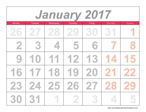 E Calendar 2017 Free 2017 Calendar Printable Free Calendar Template 2016